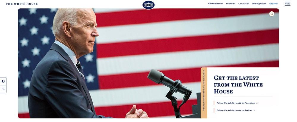 האתר הרשמי של Whitehouse.gov מופעל על ידי WordPress